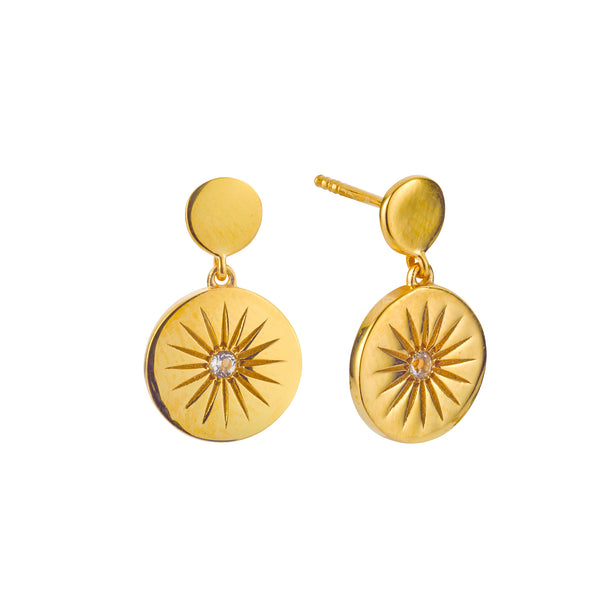 SOLEIL WHITE TOPAZ DISC DROP EARRINGS - 18 KARAT GOLD VERMEIL