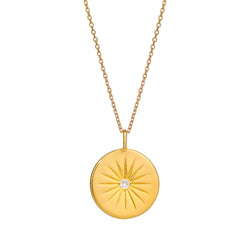SOLEIL WHITE TOPAZ DISC NECKLACE - 18 KARAT GOLD VERMEIL