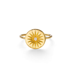 SOLEIL WHITE TOPAZ DISC RING - 18 KARAT GOLD VERMEIL