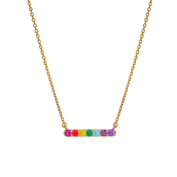 NEW SPECTRUM BAR NECKLACE - 18 KARAT GOLD VERMEIL
