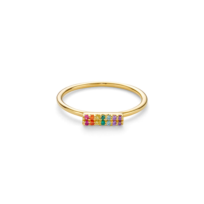SPECTRUM BAR RING - 18 KARAT GOLD VERMEIL