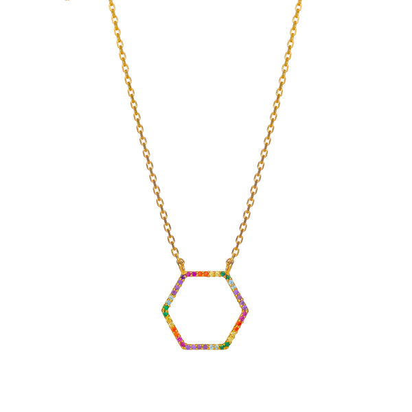 SPECTRUM HEXAGON NECKLACE - 18 KARAT GOLD VERMEIL