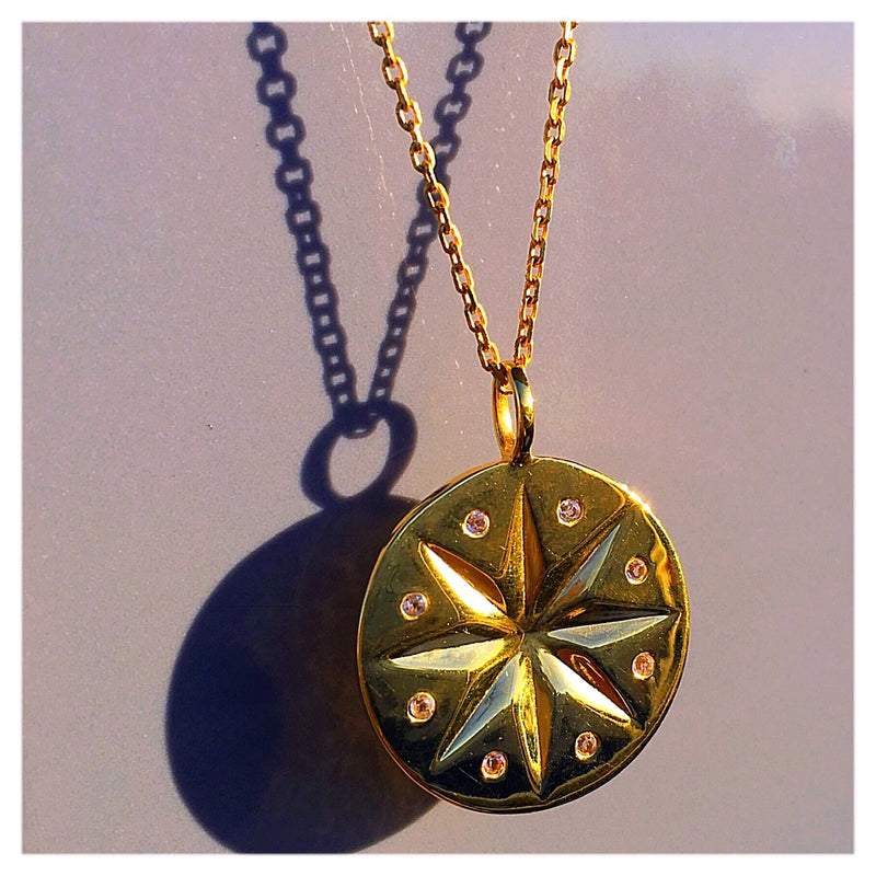 STELLAR WHITE TOPAZ DISC NECKLACE - 18 KARAT GOLD VERMEIL