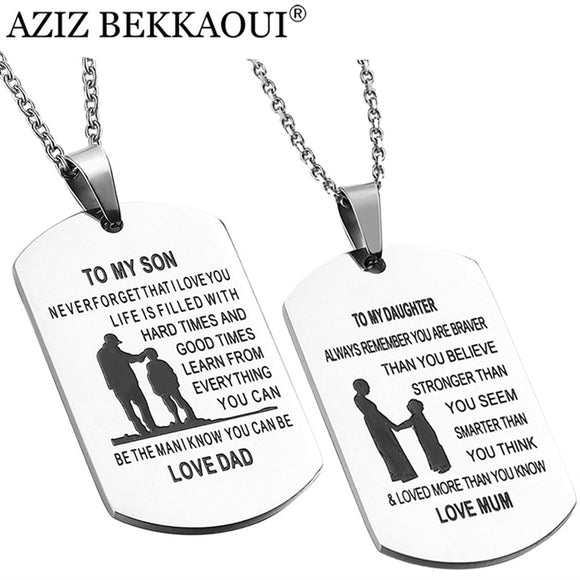 TO MY SON Stainless Steel Pendant Necklaces Engrave Name Love Dad/Mum ID Tag Necklaces Customized Logo Jewelry