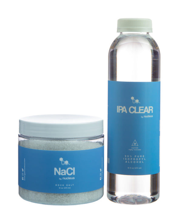 Nucleus Alcohol and Salt Cleaning Combo - Showing both Salt & Alcohol Containers
