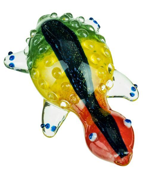 Smokin' Buddies Dichro Striped Rasta Turtle Pipe - Detailed View