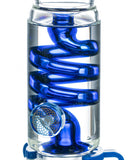 Smokin' Buddies Glycerin Coil Beaker Water Pipe with Gold Accents - Blue Glycerin Coil Close Up