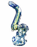 "Side view of  blue Smokin' Buddies ""Rocky Ring"" Fumed Sherlock Bubbler."