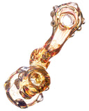 "Top view of  pink Smokin' Buddies ""Rocky Ring"" Fumed Sherlock Bubbler."