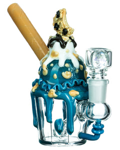 Empire Glassworks Cookie Monster Sundae Mini Water Pipe - Profile View