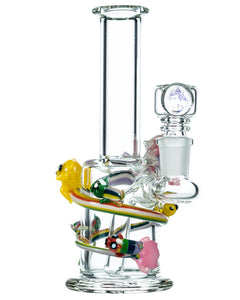 Front view of Empire Glassworks Land of Ooo Mini Water Pipe showing characters from Adventure Time sliding down a rainbow.