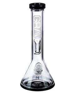 Grav Labs Black Accented Beaker Water Pipe with Inverted Restriction - Front View