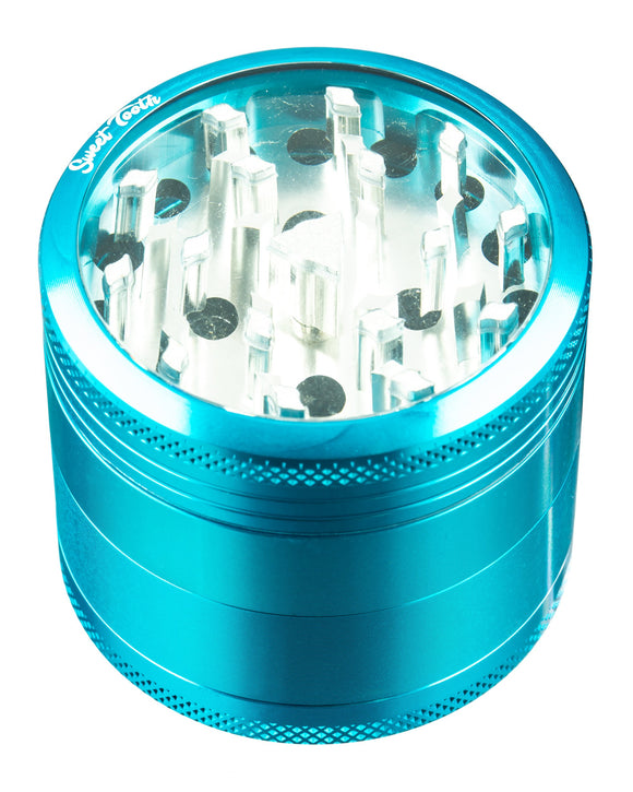 Sweet Tooth teal 4-Piece Medium Diamond Teeth Clear Top Aluminum Grinder