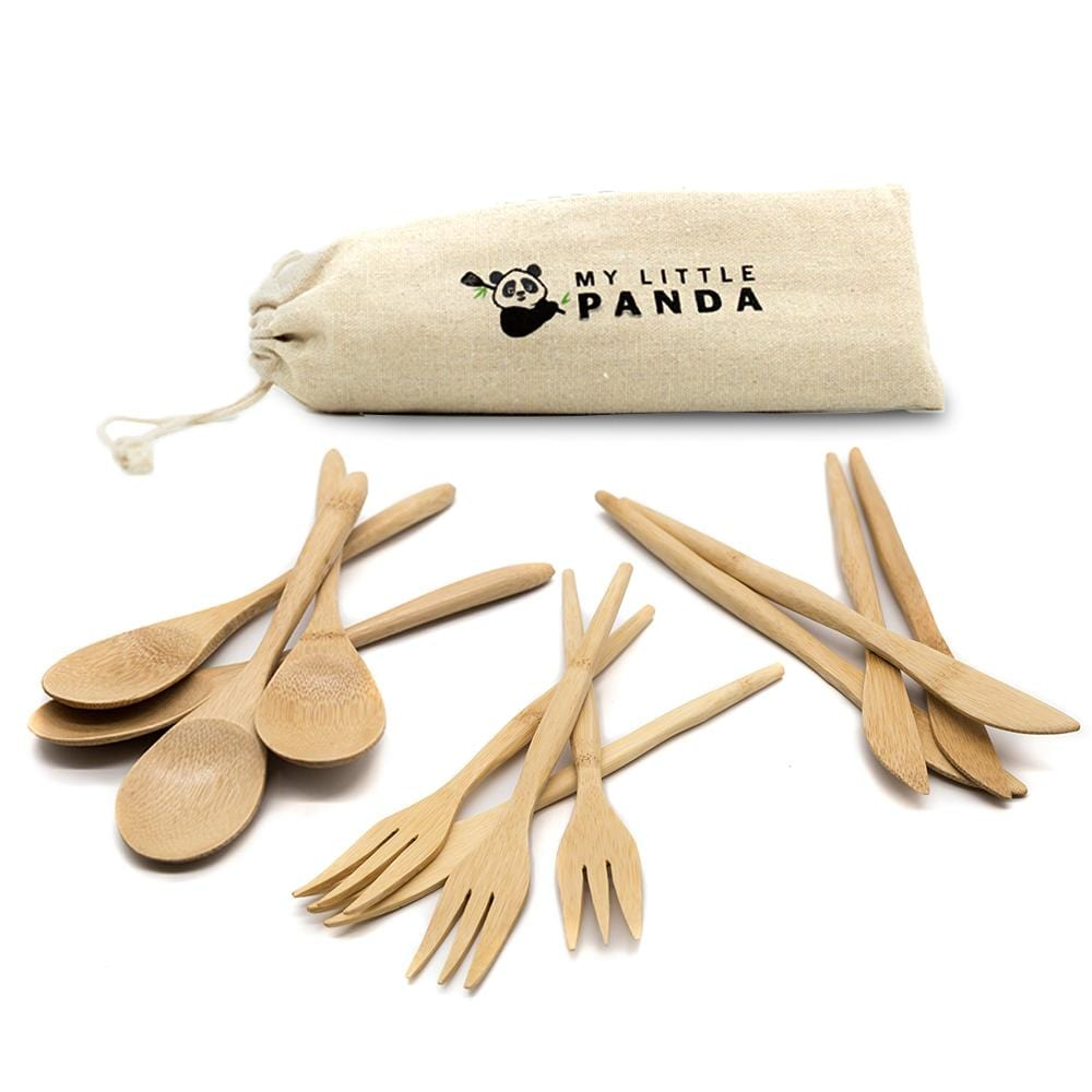 My little Panda flatware set of twelve cutlery is eco-friendly, biodegradable, organic and very lightweight but sturdy.