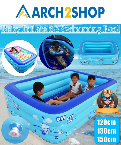 120/130/150cm Inflatable Square Swimming Pool Kids
