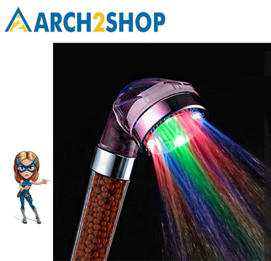 LED Anion Shower SPA Temperature Control Colorful Handheld Rain Shower