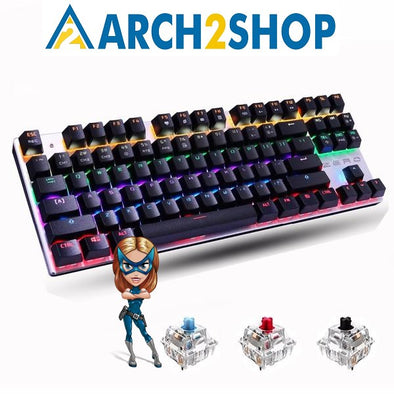 87 keys Blue Switch Gaming Keyboards for Tablet Desktop Russian sticker - arch2shop.com