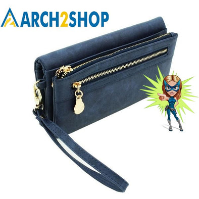 Women Wallets Long Dull Polish PU Leather Wallet Female Double Zipper Clutch - arch2shop.com