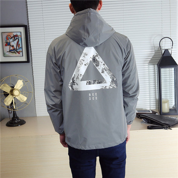 Men jacket casual hiphop windbreaker reflective jacket