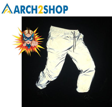Reflective Pants Hip Hop Dance Fluorescent Trousers Casual Jogger Pants