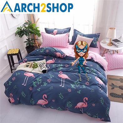 Cartoon Pink Flamingo Bedding Sets - arch2shop.com