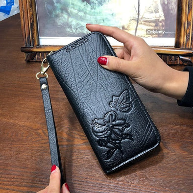 Ladies Embossing Wallet Female With Genuine Leather Wristlet And Purses - arch2shop.com