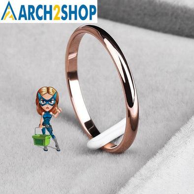 Titanium Steel  Rose Gold  Anti-allergy Smooth  Simple Wedding Rings - arch2shop.com