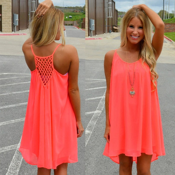 Women beach dress fluorescence female summer dress chiffon - arch2shop.com