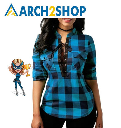 Women Plaid Shirts Long Sleeve Blouses Cotton Lace up