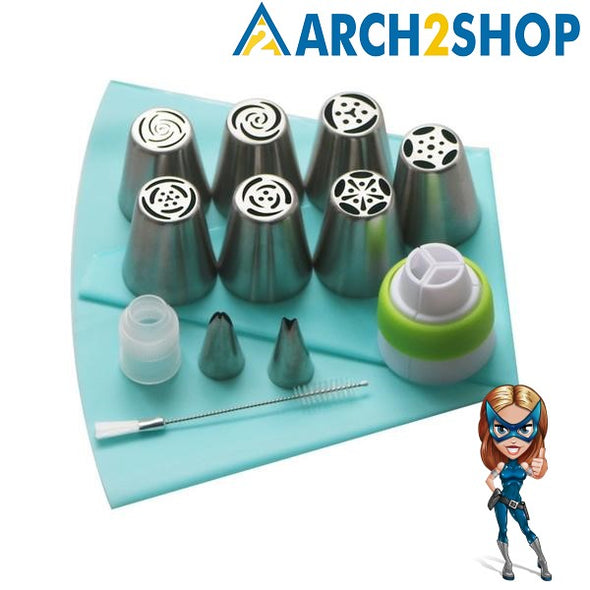 SHENHONG 13PCS Pastry Nozzles And Coupler Icing Piping Tips Sets Stainless Steel Rose Cream Bakeware Cupcake Cake Decorating - arch2shop.com