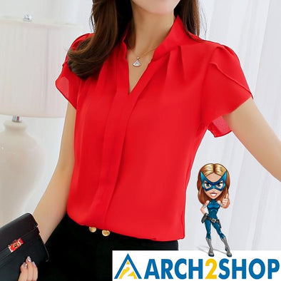 Summer Autumn 2018 Short Sleeve Shirt Fashion Bodycon Leisure Chiffon - arch2shop.com