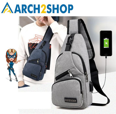 Men's Shoulder Bags USB Charging Crossbody Bags Men Messengers Bag