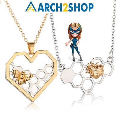 Silver Necklaces for Women Girl Heart Honeycomb Bee Animal Pendant - arch2shop.com