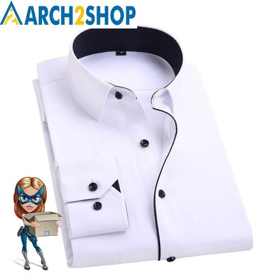2018 Men's Casual Shirts Work Wear Formal Slim Shirt - arch2shop.com