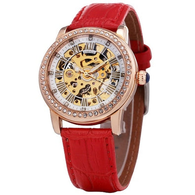 Elegant Women Mechanical Wrist Watches Skeleton Dial Leather Watchband - arch2shop.com