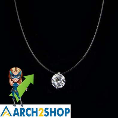 Silver Invisible Chain Necklace Women Rhinestone Choker Necklace - arch2shop.com