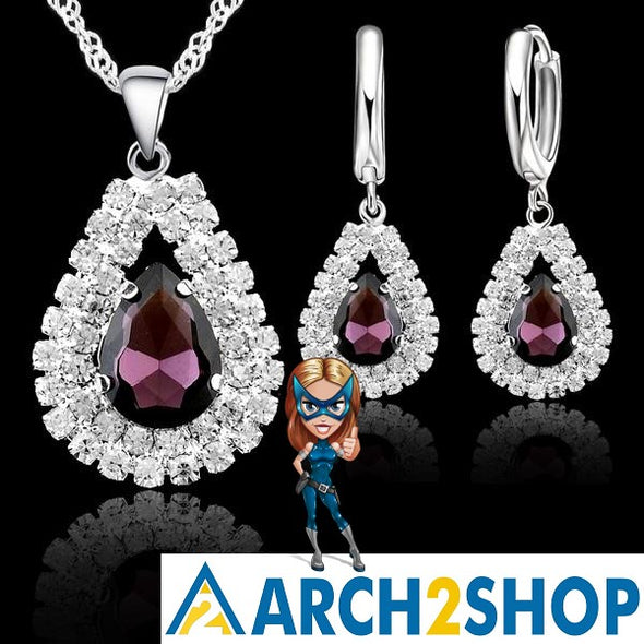 Fine Water Drop Pendants Necklaces Earring Set Accessory - arch2shop.com