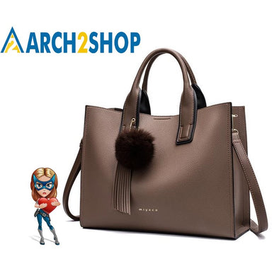 Women Handbags Casual Brown Tote With Tassel and fluffy ball