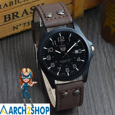 Men's Date Leather Strap Watch - arch2shop.com