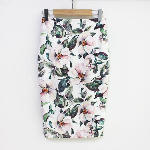 Women High Waist Green Skirts Vintage Elegant Bodycon Floral Print Midi Skirt - arch2shop.com
