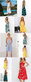 Summer Women Dress 2019 Vintage Sexy Bohemian Floral Tunic Beach Dress