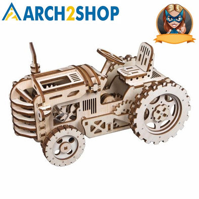 DIY Hand Crank Gear Drive Tractor 3D Wooden Model Building Kits Toys - arch2shop.com