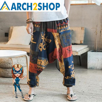 Hip Hop Aladdin Hmong Baggy Cotton Linen Harem Pants - arch2shop.com