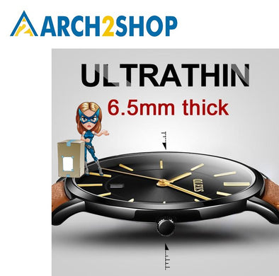 Mens Watches Ultra thin Watch Leather Quartz Watch Sports Wrist watch - arch2shop.com