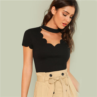 Black Elegant Mock Neck Scallop Trim Cut Out V Collar Short Sleeve - arch2shop.com