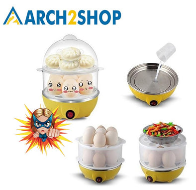 Multifunctional Electric Boilers 2-Layer Rapid Egg Cooker Steamer Egg - arch2shop.com