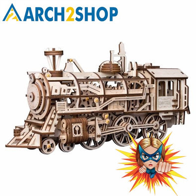 DIY Clockwork Gear Drive Locomotive 3D Wooden Model Building Kits Toys - arch2shop.com