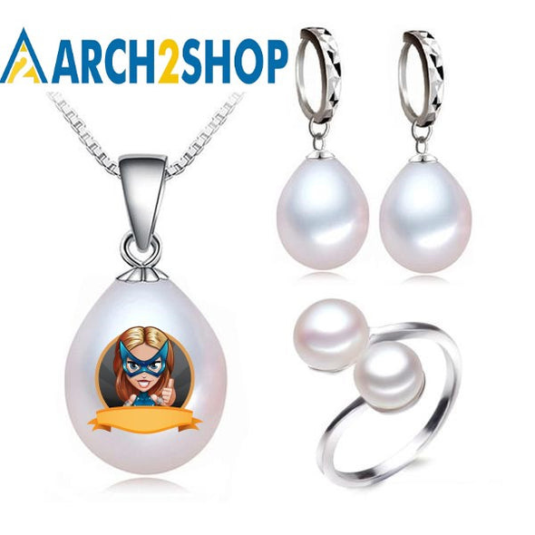 Real freshwater pearl jewelry set women,natural pearl sets - arch2shop.com