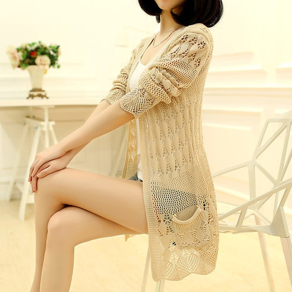 Fashion Knitted Cardigan Loose Pocket Hollow Long Sleeve Women Sweater - arch2shop.com