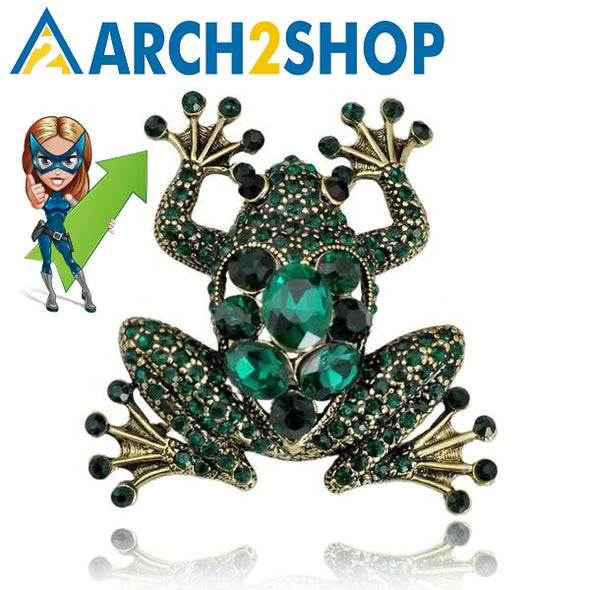 Crystal Frog Brooches for Women Green Color Animal Brooch Pin - arch2shop.com